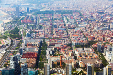 Aerial view of residence district in Barcelona