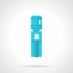 Blue water cooler flat vector icon