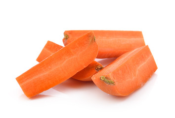 Carrot vegetable stick heap on white background