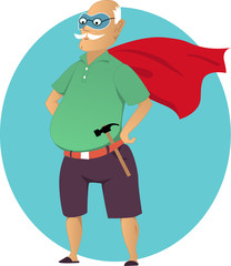 Super grandpa. Cartoon old man in a mask and a superhero cape, with a hammer, no transparencies, EPS 8