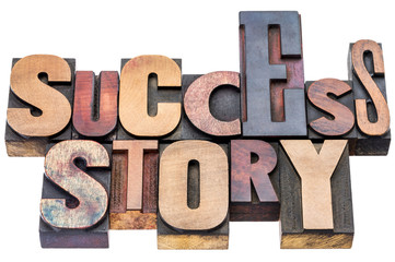 success story wood type typography