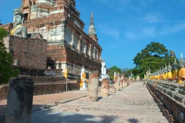 Beautiful ancient art in buddha at Wat Yai Chaimongkol, Ayutthaya,