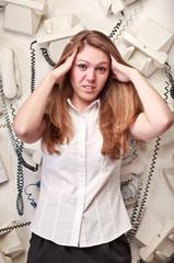 operator woman in panic