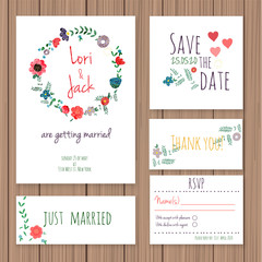 Wedding invitation card set.