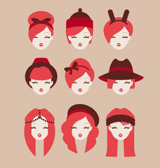 fashion girls icon set vector illustration