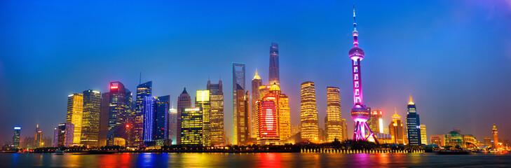 Shanghai skyline panorama at night, China