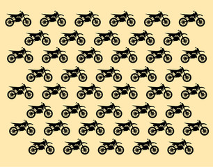 patterned background with silhouettes of motocross bike