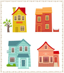 Two Story Houses - Cartoon set of four colorful two story houses. Eps10