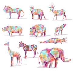 Set of wild animal vector safari in diamond shape colorful