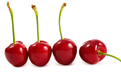 Bing Cherries isolated on white.