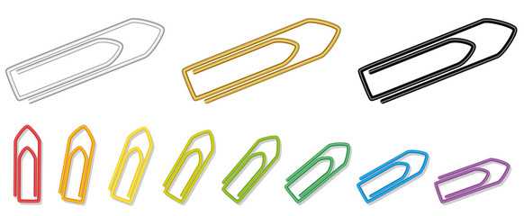 Paper clips - metallic silver, golden, black and rainbow colored realistic looking collection. Isolated vector illustration on white background.