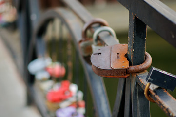 Set of wedding locks. Closed locks of different formats.