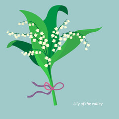 Flat design. Lily of the valley. Vector illustration