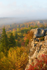 Fototapete - Foggy Sunrise in Fall at Bear Rocks, WV