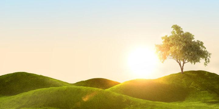 3d rendering of a green field