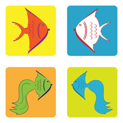 monochrome icon set with fish