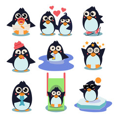 Penguin Set Vector Illustration, with Penguins in Different