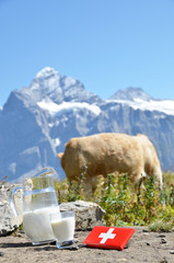 Fototapete - Swiss chocolate and jug of milk on the Alpine meadow. Switzerlan