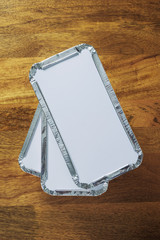 Takeaway foil trays pile