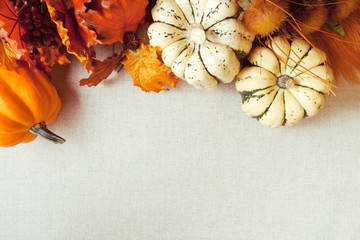 Squash & Autumn Foliage Thanksgiving and fall theme background