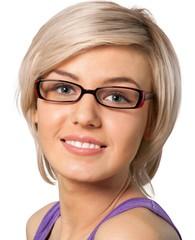 Glasses, Women, Smiling.