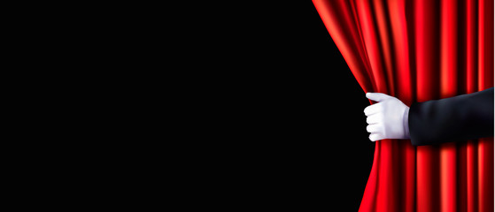Background with red velvet curtain and hand. Vector illustration Fotomurales