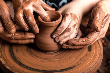 Child, Pottery, Assistance.
