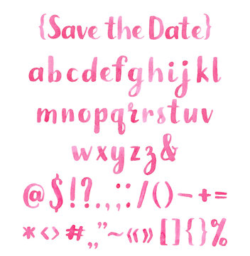 Hand drawn watercolor pink calligraphic font.
