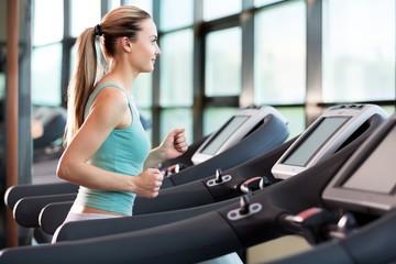 Gym, center, running.