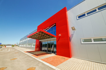 Acrylic Prints Industrial building Aluminum facade on industrial building