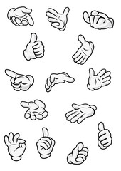 Cartoon hand and fingers signs and gestures