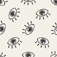 eye doodle seamless pattern background