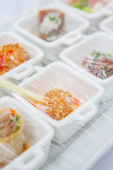 Canape ; Decoration and foods that are wrapped with plastic wrap