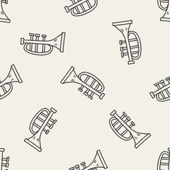 trumpet doodle seamless pattern background