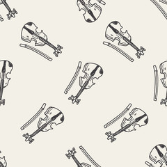 Violin doodle seamless pattern background