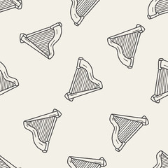 harp doodle seamless pattern background