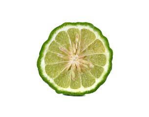 closeup half cut fresh bergamot or Leech Lime on white backgroun