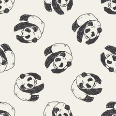 panda doodle seamless pattern background
