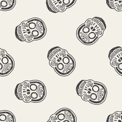 mexican skull doodle seamless pattern background