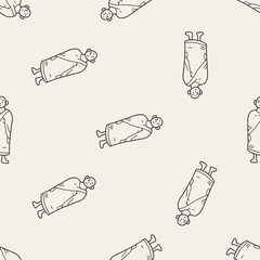 monk doodle seamless pattern background