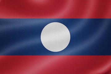 Laos flag on the fabric texture background