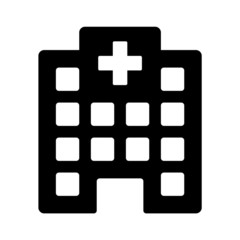 Hospital building for emergency urgent care flat icon for apps and websites