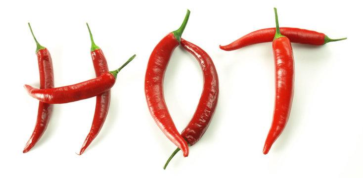 Chili pepers creating word hot