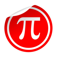 Pegatina roja simbolo pi