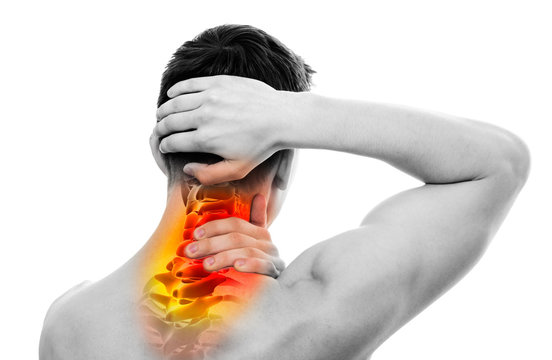Neck Pain - Male Anatomy Sportsman Holding Head and Neck - Cervi