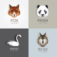 trendy low polygon style animal logos for business visual identity -swan, fox, panda bear and wolf- modern geometric triangular style