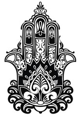 Indian hand drawn hamsa with ethnic ornaments