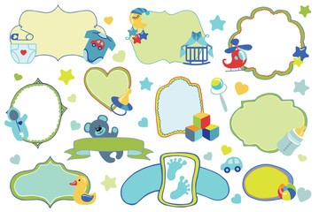 Newborn Baby boy badges,labels set.Baby shower