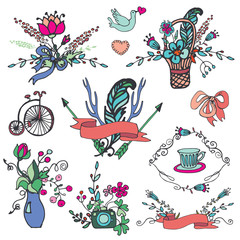 Doodle floral group,hand sketch vintage elements