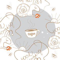 Seamless pattern with the snail bearing coffee, the sun and coffee mugs.